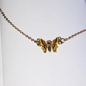 Vintage Petite Orange & Yellow Butterfly Necklace